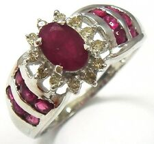 SYJEWELLERY 10KT WHITE GOLD NATURAL RUBY & DIAMOND RING   SIZE N    R915
