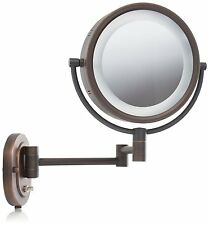 Wall Mount Mirror Two Sided Swivel Halo Lighted Wit Bathroom Bronze Jerdon 8�