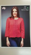Heirloom Knitting Pattern #459 Ladies Lace Panel Cardigan to Knit in 8 Ply