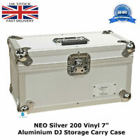 "1 NEO Silver Storage DJ Flight Carry Case for 200 Singles 45 rpm vinyl 7"" Record"