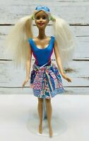 "MATTEL BARBIE Doll Long Blonde Hair Blue Eyes Pink Dress 12"" Tall Used Free Ship"
