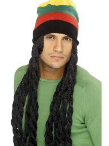 Mens Rasta Wig & Beanie Hat Dreadlocks Jamaican Fancy Dress Marley by Smiffys