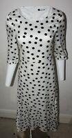 Wallis Scoop neck 3/4 Sleeves White Black Spot Polka dot Satin Peplum Maxi Dress
