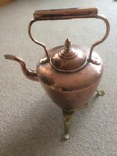 Vintage 19thC Victorian Copper Teapot Kettle with Brass Stand