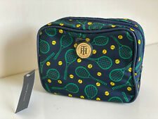 NEW! TOMMY HILFIGER BLUE GREEN TRAVEL MAKEUP COSMETIC ORGANIZER CASE $32 SALE