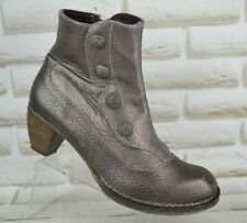 NEOSENS Womens Shiny Brown Leather Ankle Heeled Boots Made SPAIN Size 6 UK 39 EU