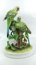 "Andrea by Sadek Group of Parakeets Bisque Porcelain Bird Pair 11"""