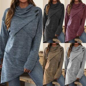 Womens Loose Long Sleeve Asymmetric Blouse Patchwork Tee Ladies Shirt Tops
