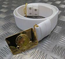 More details for genuine irish naval service white corlene parade uniform belt with insignia ibb3
