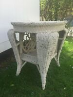 ANTIQUE RARE VICTORIAN WICKER FLOWER OVAL TABLE