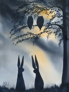 Original watercolour painting.  Everything Mr Mrs owl, evening Mr and Mrs hare.