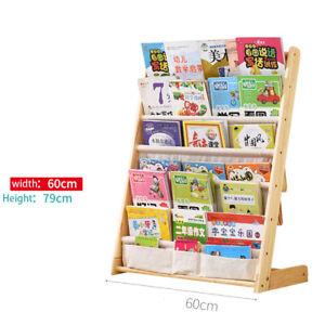 Wooden Kids Children Book Shelf Sling Storage Rack Organizer Bookcase Bookshelf
