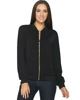 Susan Graver Womens Solid Stretch Peachskin Bomber Jacket X-Small Black A294746