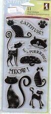 Inkadinkado Acrylic Clear Stamp Set 97621 Sentiments & Cats, New B2