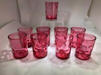Antique Victorian Set Of Nine Cranberry Colored Dimple Pattern Drinking Glasses