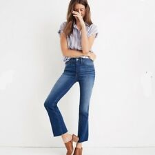 NWT Madewell Cali Demi Boot Cut Jeans in Grosbeck Wash Blue Frayed Hem Size 29