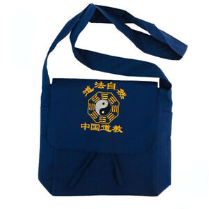 Chinese Embroidery Canvas Zipper Taoist Shoulder Bag Foldable Tai Chi Bagua Blue