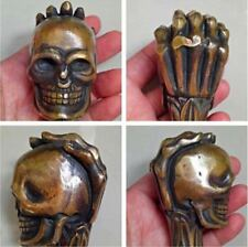 Old Chinese Bronze Handmade Carved Skull Statue Cane Walking Stick Head