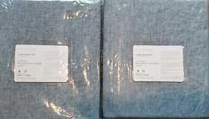 2 Pottery Barn CLASSIC BELGIAN FLAX LINEN Pole Top Drapes~50x108 ~ CHAMBRAY BLUE