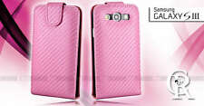 PINK Flip Wallet Carbon Fiber Leather Case Cover SAMSUNG Galaxy S3 i9300 S III
