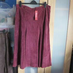 Monsoon, Dark Burgundy 100% Leather Skirt size 18 BNWT