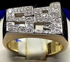 14K Yellow Gold 0.50ctw Rectangular (SPM) Prong Set.Round Diamonds Men's Ring.