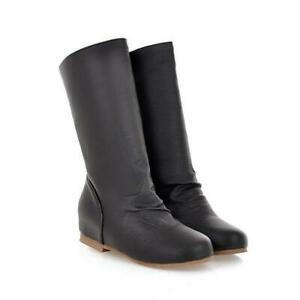 Womens Pull On Mid Calf Boots Round Toe Slouch Riding Booties Casual Shoes