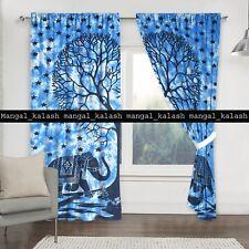Indian Elephant Mandala Curtain Drape Hanging Window Cotton Tab Top Curtains Set