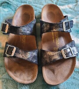 *HTF* Birkenstock Black Stardust Iridescent Sparkle Sydney Sandals 38N