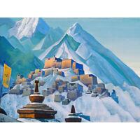 Roerich Tibet Himalayas Symbolist Mountain Landscape Canvas Print Poster