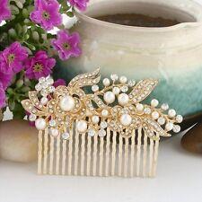Gold Crystal Pearl Hair Comb PLUS FREE GIFT Rhinestone Wedding Bridal Bride Clip