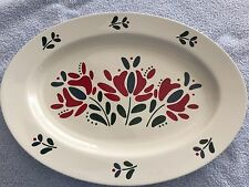 "VINTAGE  ""ASTA""  RED, GREEN & BLUE OVAL PLATTER FROM JAPAN  -  PRE-OWNED"