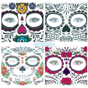Day of the Dead Temporary Face Tattoo Sheet Halloween Costume Make Up 150*125mm
