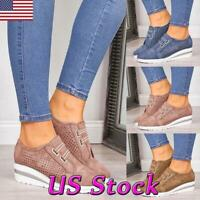 Women Round Toe Casual Shoes Ladies Wedge Heels Slip on Loafers Walking Sports