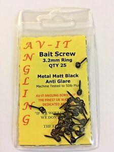 AVIT-ANGLING BAIT SCREWS MATT BLACK METAL 25 PIECES CARP/COURSE FISHING BAITING
