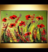 RED POPPIES   by  Mark Kazav  Large Abstract Modern Original Oil Painting HENGGN