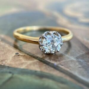 2Ct Old Mine Cushion Cut Moissanite Engagement Ring 14K Multi-Tone Gold Plated