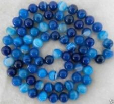 "10mm Blue Stripe Agate Onyx Gem Round Beads Necklace 35"""