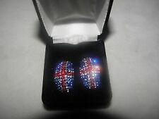 Uk Usa Flag Colors Patriotic Glittering Austrian Crystal Earrings United Kingdom