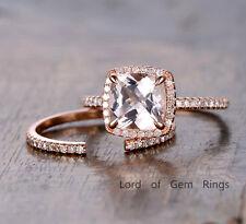 Morganite Engagement Ring Set 8mm Cushion 14K Rose Gold Wedding Diamonds Band 6#
