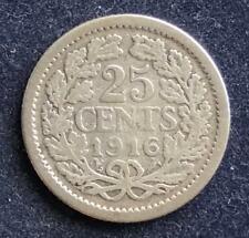 25 Cents 1916 Wilhelmina Niederlande  .640 Silber 3,6 g KM#146
