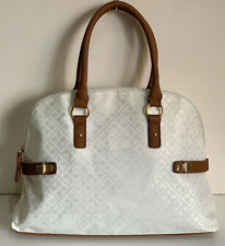 NEW! TOMMY HILFIGER WHITE DOME BOWLER SATCHEL TOTE PURSE BAG $85 SALE