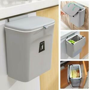 Wall Mounted Waste Bin Kitchen Cabinet Door Cupboard Hanging Trash Can With Lid