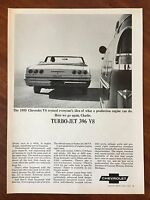Vintage 1965 Original Print Ad of 1955 CHEVROLET Turbo-Jet 396 V8 CONVERTIBLE