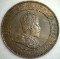 1908 Copper Canadian Large Cent Coin 1-Cent Canada AU #2