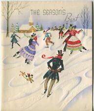 New listing VINTAGE CHRISTMAS ICE SKATING VICTORIAN GIRL BOY DOG SNOW CHURCH GREETING CARD