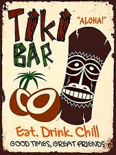 Tiki Bar Comer Beber Chill, Estilo Vintage Metal Regalo de Cocina Novedad Nostálgicos Signo