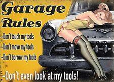 garage règles panneau en acier large 400mm x 300mm (OG)