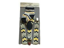 Rising Star Adjustable Suspender & Sock Set (Grey/Navy/Yellow) Zig-Zag