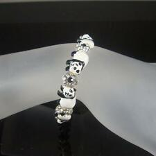 CUTE CRYSTAL BLACK WHITE PANDA STRETCH BRACELET MADE WITH SWAROVSKI ELEMENTS